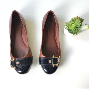 Tory Burch flats leather patent brown black Sz 11